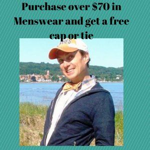 Free cap or tie for purchase of menswear over $70